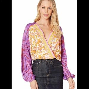 NWT- Free People Cruising Together Printed Blouse